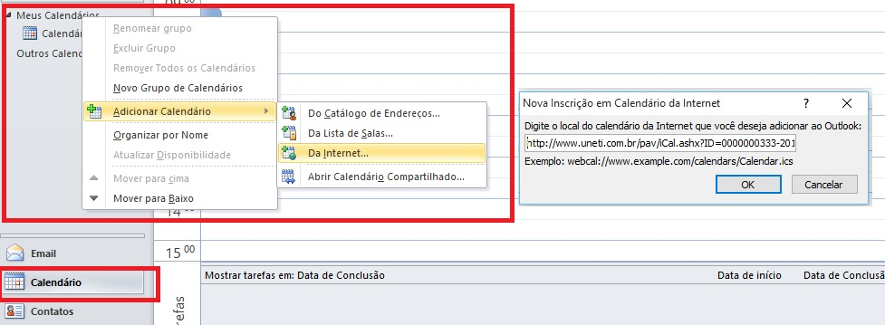 Compartilhando agenda com o MS Outlook